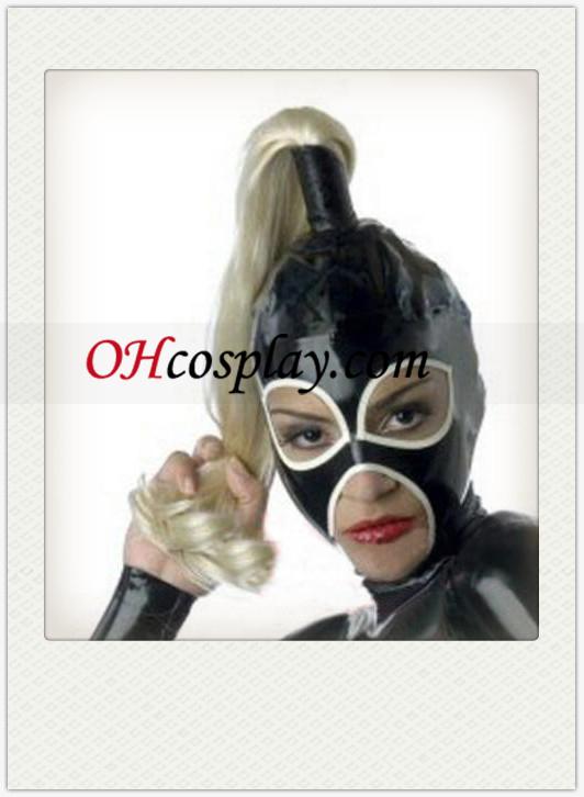 Fekete női Latex Maszk paróka, nyitott szem és a száj