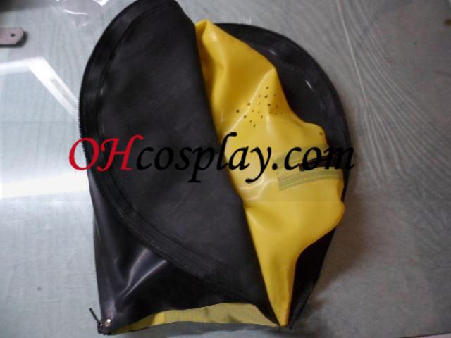 검정색과 노란색 라텍스 메시와 더블 지퍼로 마스크