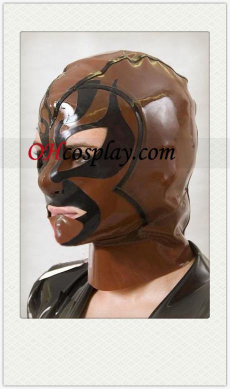 Brun Latex Demon Mask med öppna ögon och mun