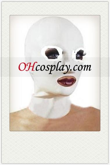 퓨어 화이트 여성 라텍스 열기 눈과 입 마스크
