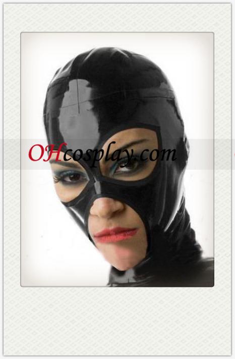 Λαμπερό μαύρος Γυναίκα Latex Mask με Ανοίξτε τα μάτια και το στόμα