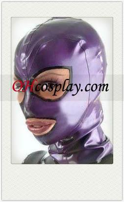 Сексуальная Фиолетовый Женский Латекс Маска с открытые глаза и рот