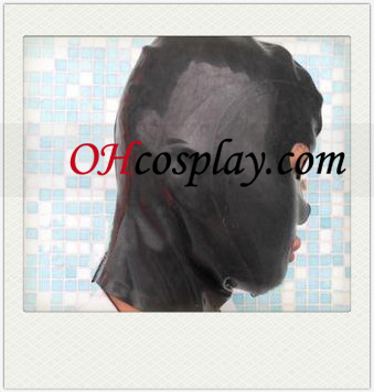 Black Unisex Latex Mask with Open Eyes and Mouth