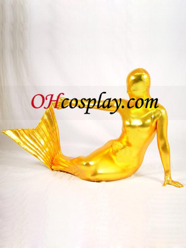 황금 빛나는 금속 인어 Zentai는 벌