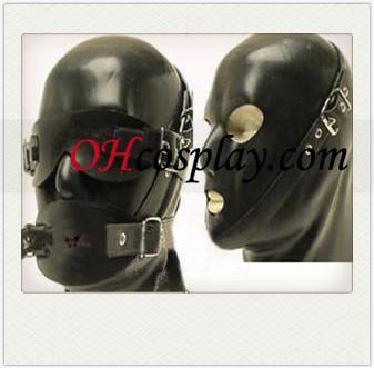 Fekete férfi SM Latex Maszk Cserélhető eyeshade és körömfájás