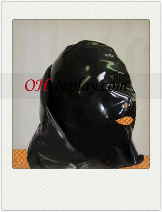 Full Face Covered Black Latexová maska ​​s otvorené nosa