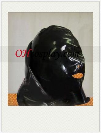Full Face coberta máscara de látex preto com Abrir Nose
