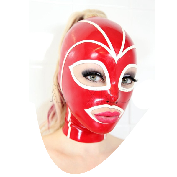 섹시한 레드와 화이트 여성 라텍스 열기 눈과 입 마스크