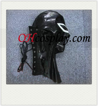 Black and White Latex Mask with Neck Binding Yarn