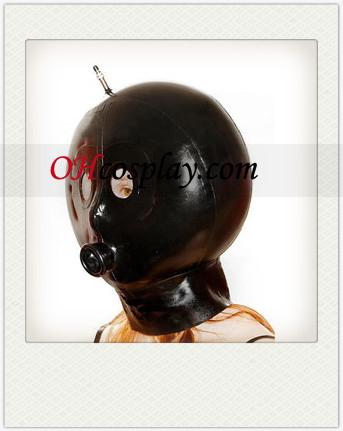 Round Female Negro Latex Mask con Ojos Abiertos