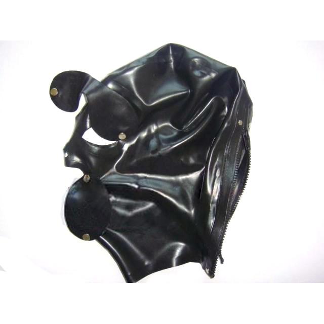 New Black Latex Mask med flyttbara Eyes