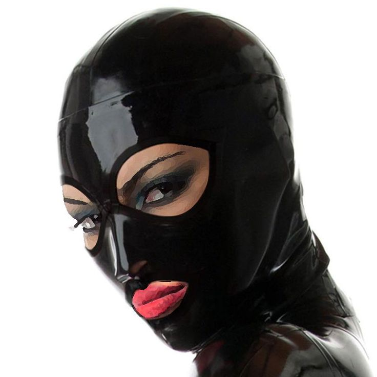 Black Cosplay Latex Mask with Open Eyes and Mouth
