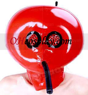 Red Inflatable Latex Mask with Mesh and Air Tube