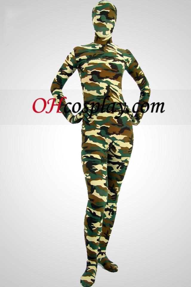Camouflage Partten Lycra Spandex Zentai Suit