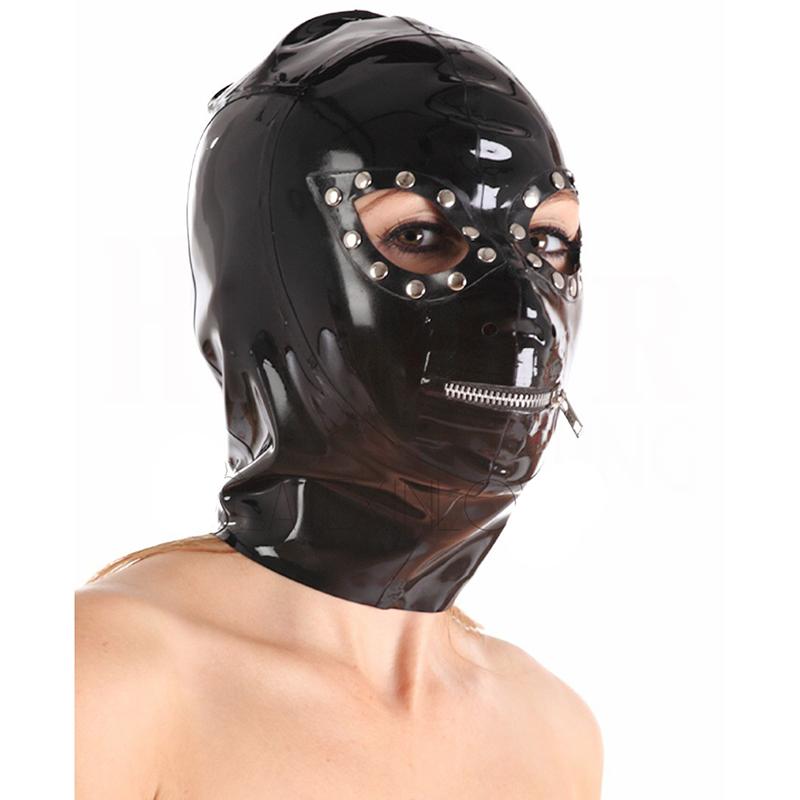 Máscara preta canina Latex com zíperes nos olhos e boca