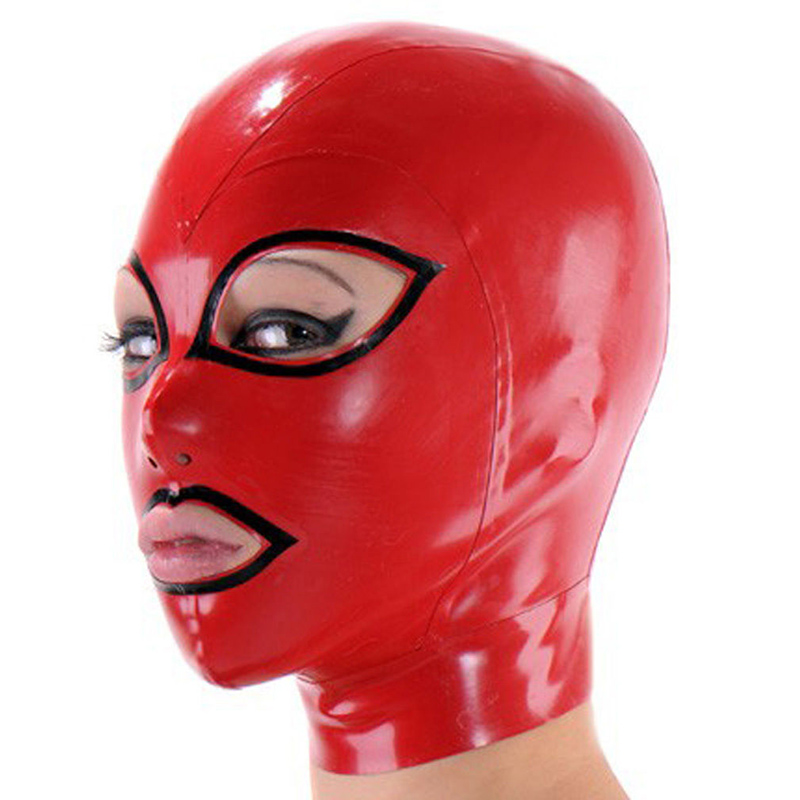 Classic Red Latex Mask med öppna ögon och mun