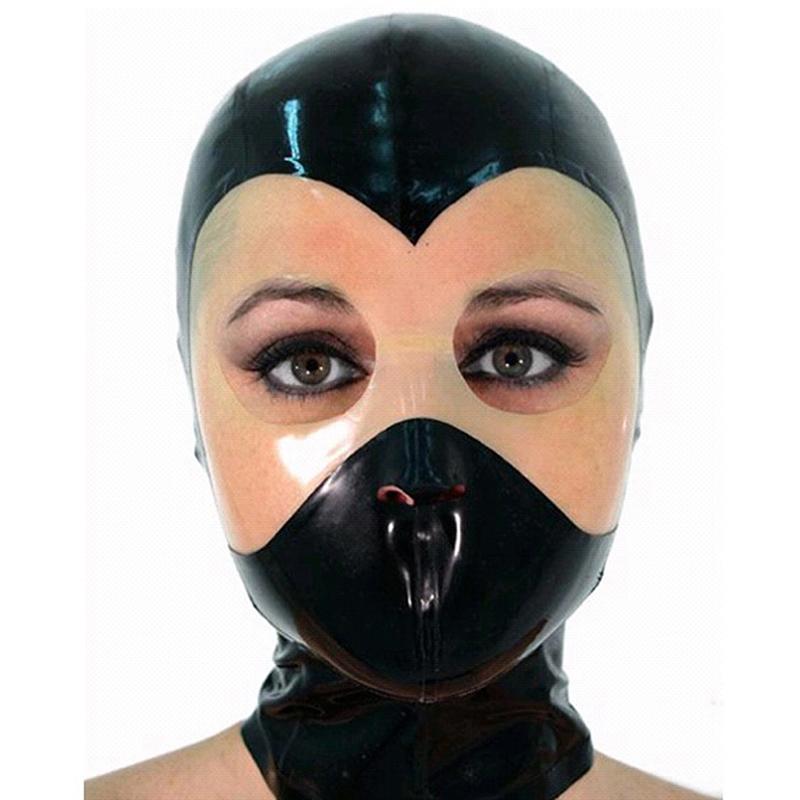 눈을 뜨고 검은 얼굴 투명 마스크, 코, 입