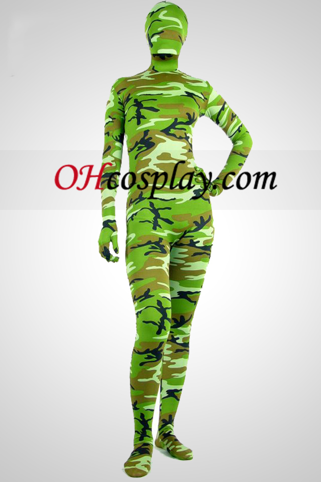 Green Camouflage Pattern Lycra Spandex Унисекс Зентай Suit