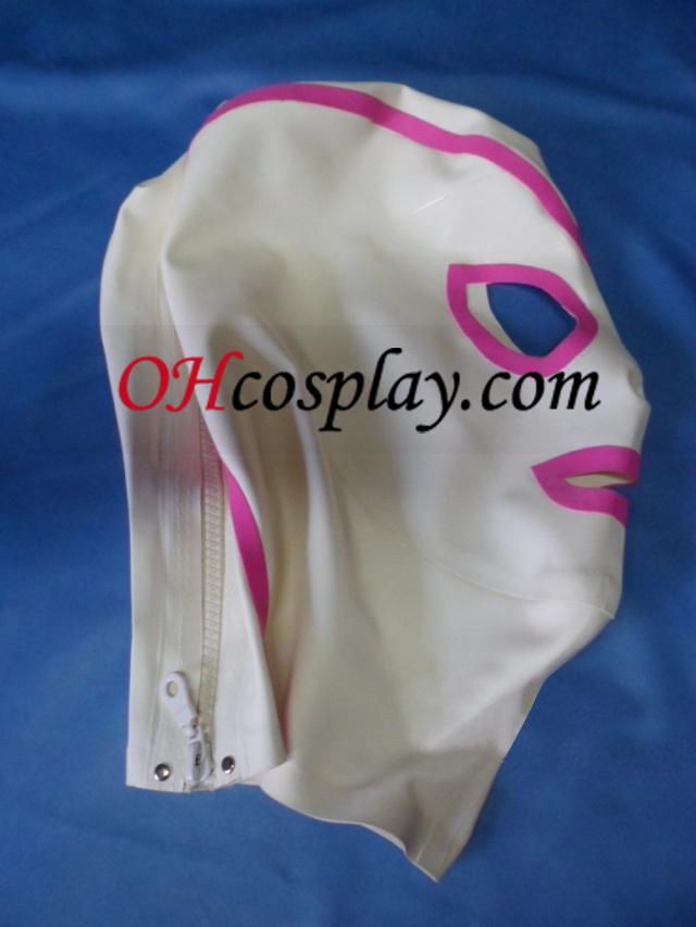 Máscara-de-rosa e branco látex de Olhos Abertos e Boca