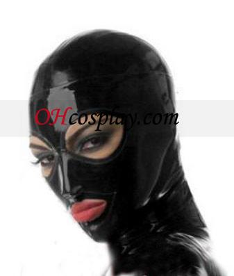 Черен Жена Latex Маска с отворени очи и уста