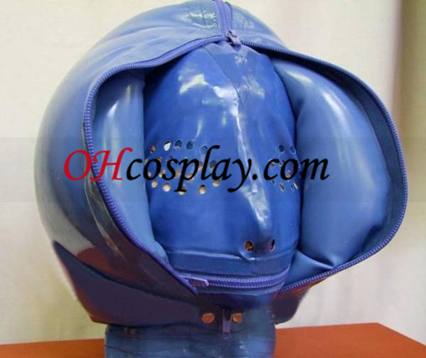 Three Layers Inflatable and Front Zipper Attached Mesh Latex Mask