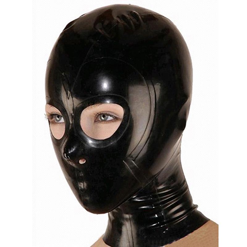 Black Man Latex Masker met Open Ogen