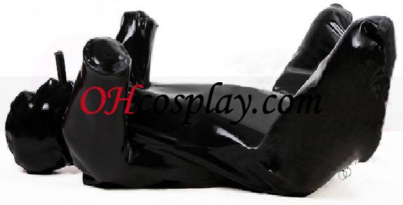 O cão preto com Latex Catsuit