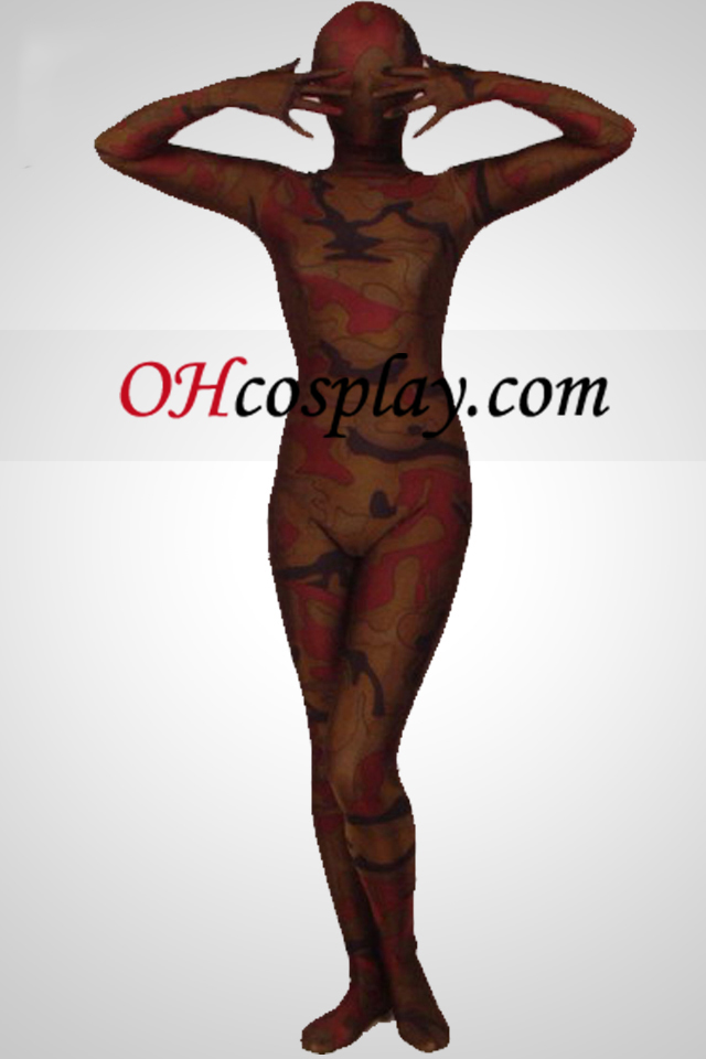 Καφές Camouflage χρώμα Lycra Full Body Zentai Suit