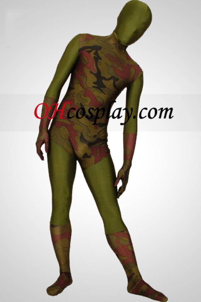 Zöld Camouflage Lycra Zentai öltönyök