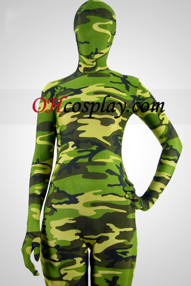 Zöld Camouflage Partten Spandex Zentai öltönyök
