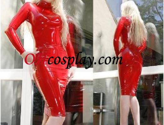 Vermelho corajoso mangas compridas vestido de látex