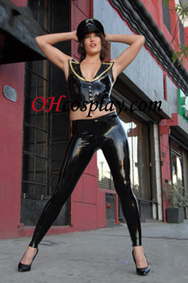 Black Cop Police Sexy Latex Catsuit With Cap