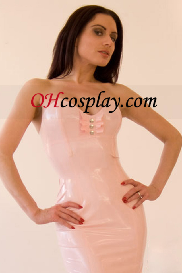 Pink Olkaimeton Sexy Latex Dress