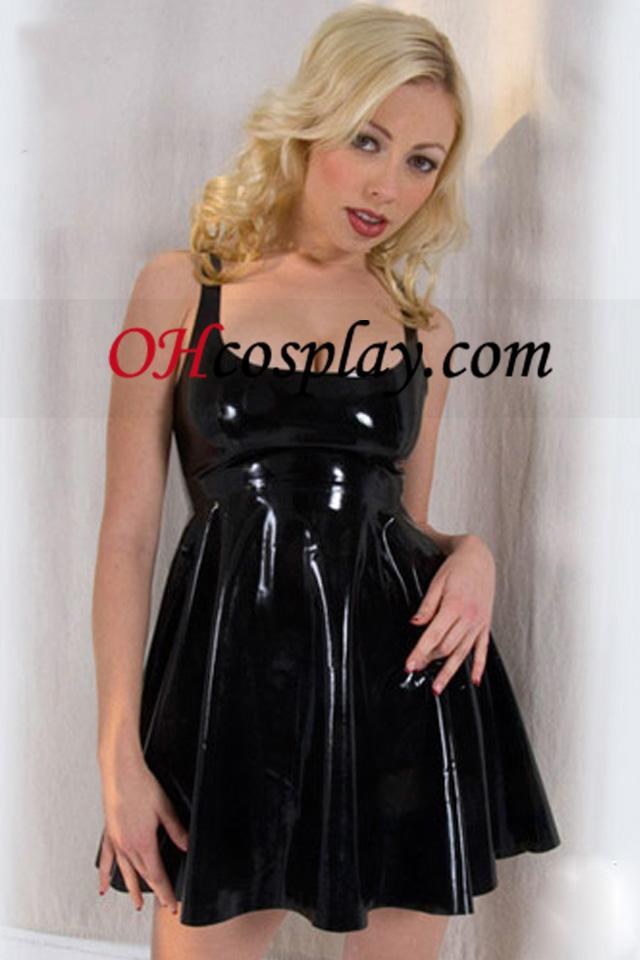Черно Empire Талия Sexy Latex Dress