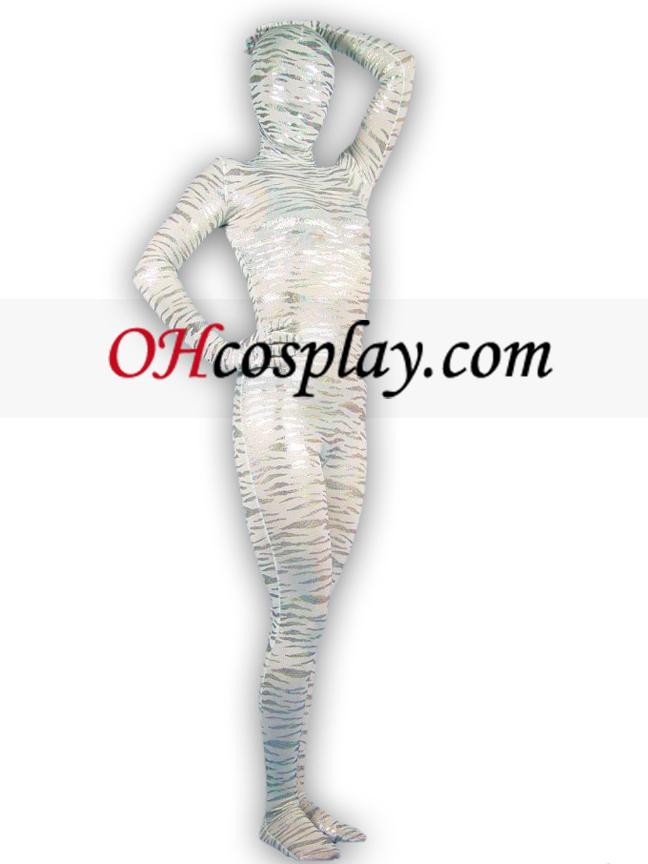 תבנית טייגר כסף ציפוי חליפת הלייקרה ספנדקס לשני המינים מערער