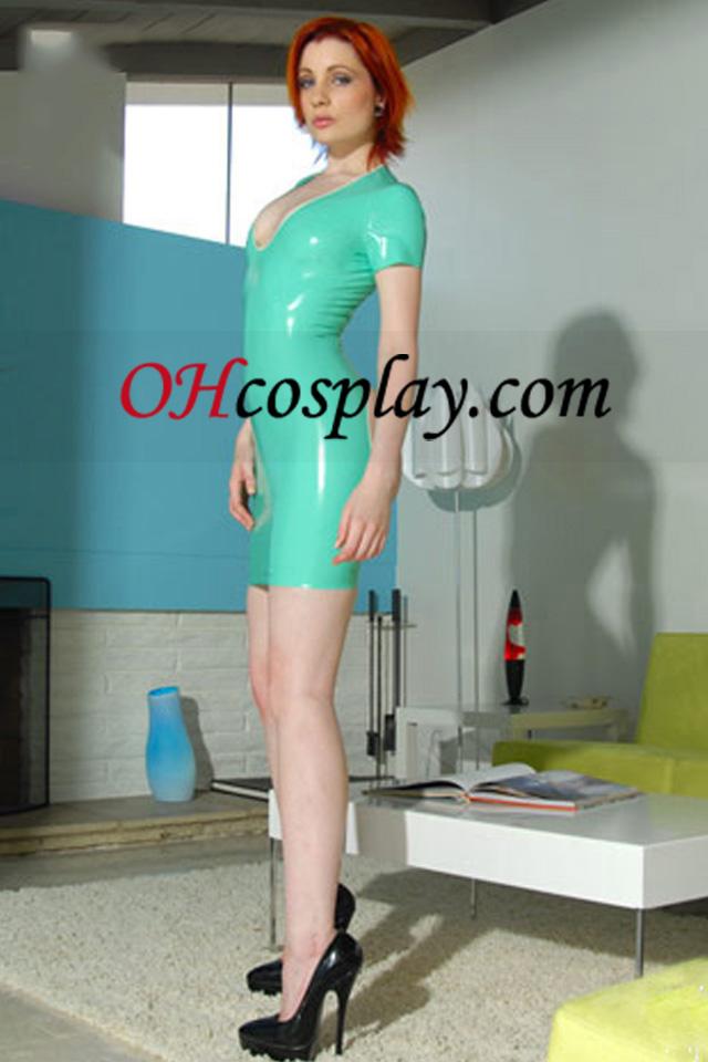 Luz Verde Cap mangas Sexy Vestido Latex