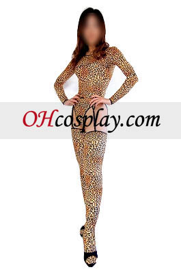 Sexy Leopard Pattern Long Sleeved Lycra Spandex Bodysuit