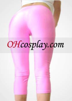Rosa Feminino Lycra Spandex Capris Pants