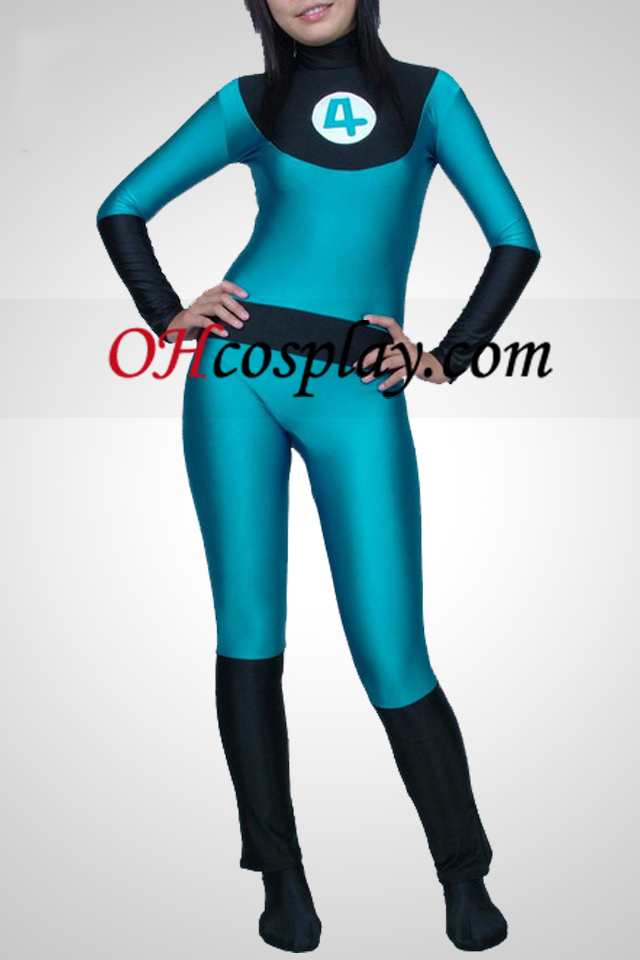 Azul e preto Lycra Spandex Unisex Catsuit