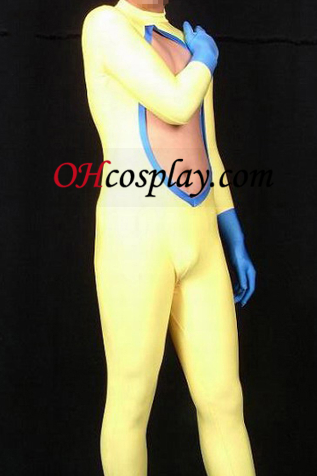Double Colored Lycra Spandex Catsuit Med cutout Chest