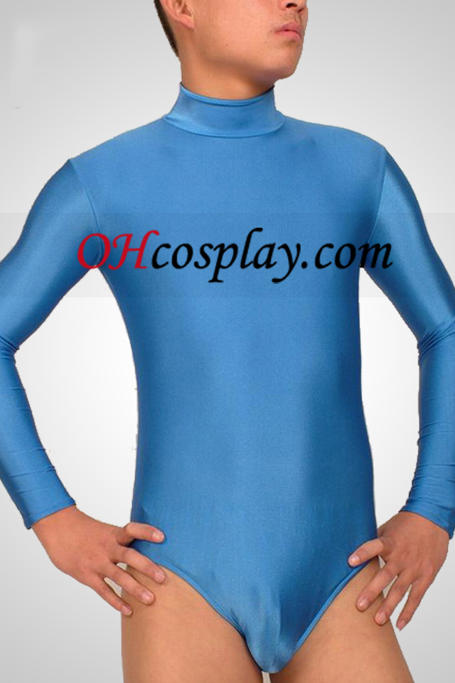 Light Blue metà del corpo Lycra Spandex Catsuit