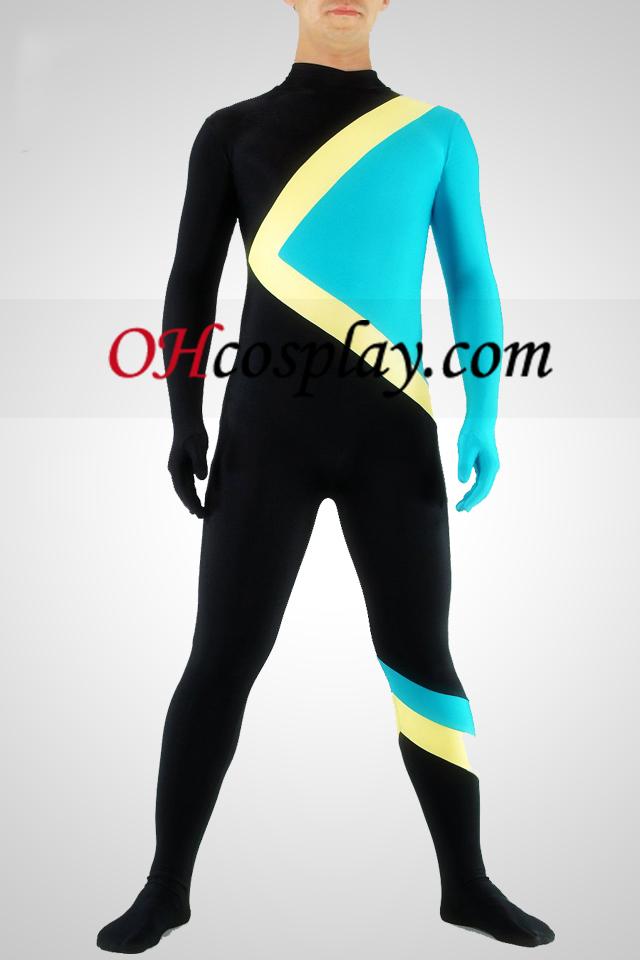Preto amarelo e azul Lycra Spandex Unisex Catsuit