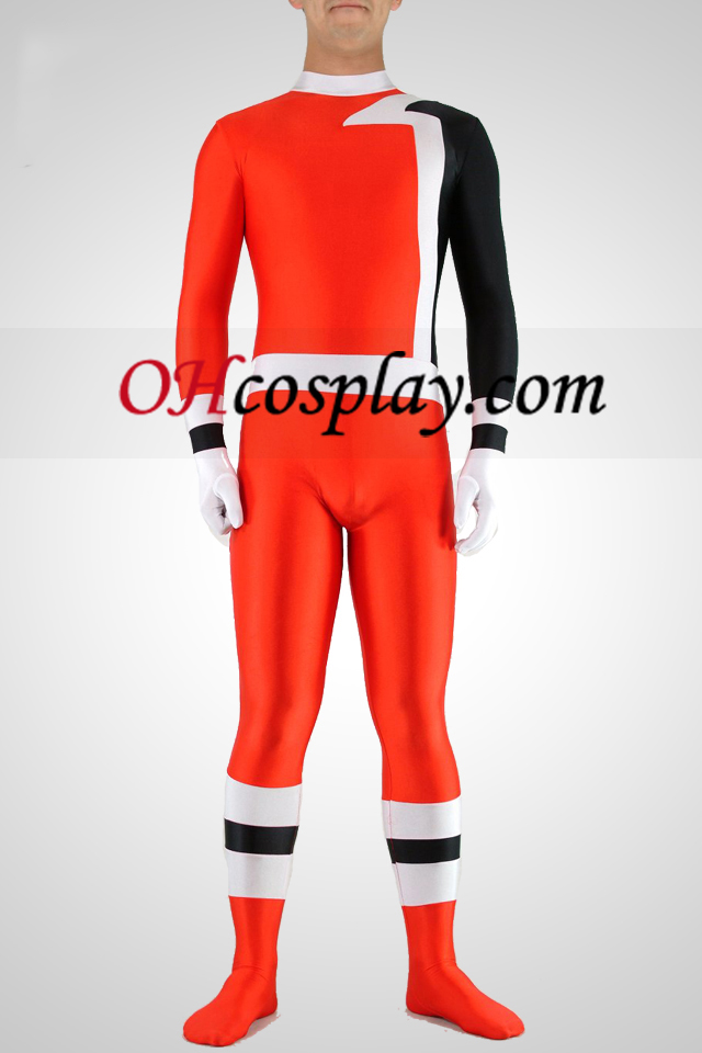 Hvit Sort Red Lycra Spandex Unisex Catsuit