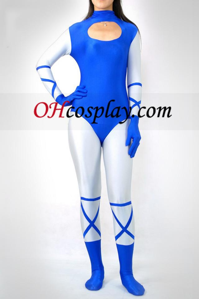 파란색과 흰색 라이크라 스판덱스의 Catsuit