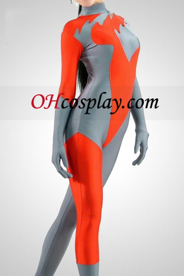 빨강과 회색 라이크라 스판덱스의 Catsuit