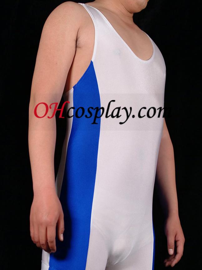 파란색과 흰색 라이크라 체육관의 Catsuit