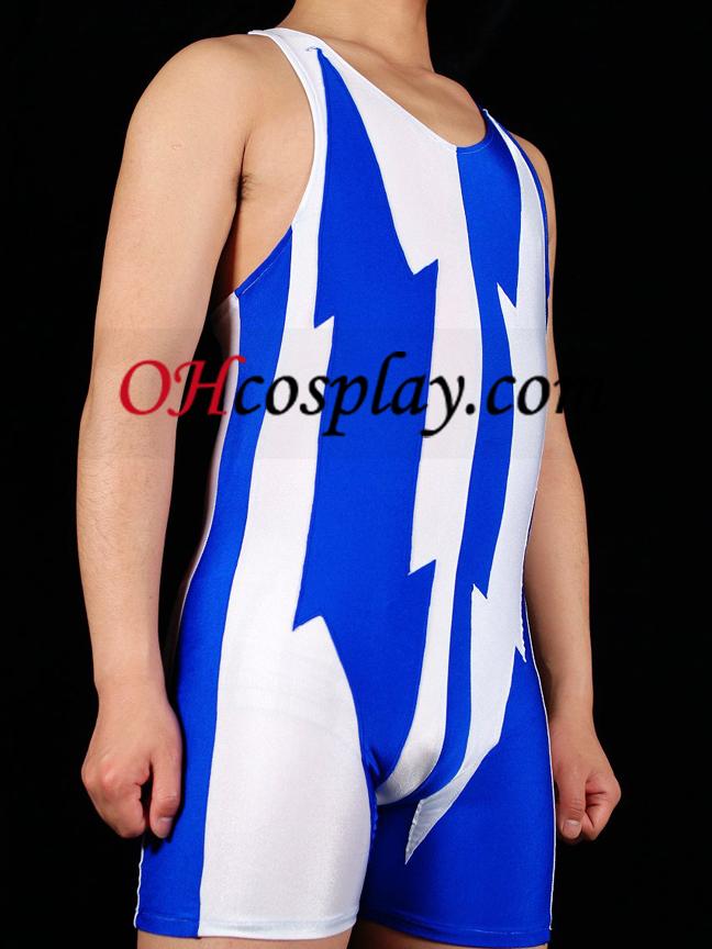 흰색과 파란색 라이크라 스판덱스 체육관의 Catsuit
