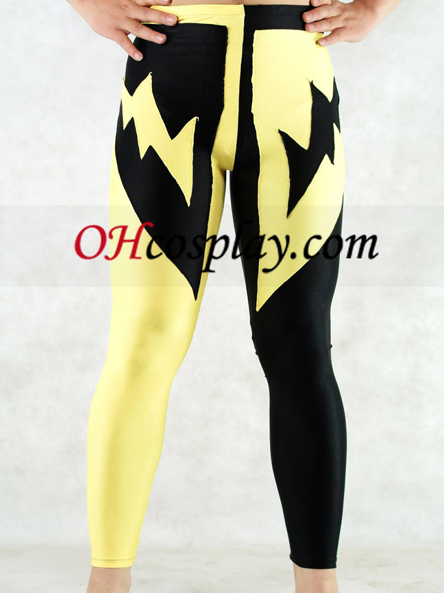 Lycra Pants Black And Yellow Uomo