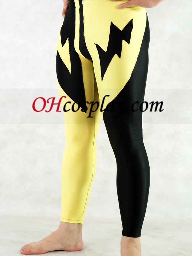 המכנסיים הלייקרה שחורים והצהובים של הגברים