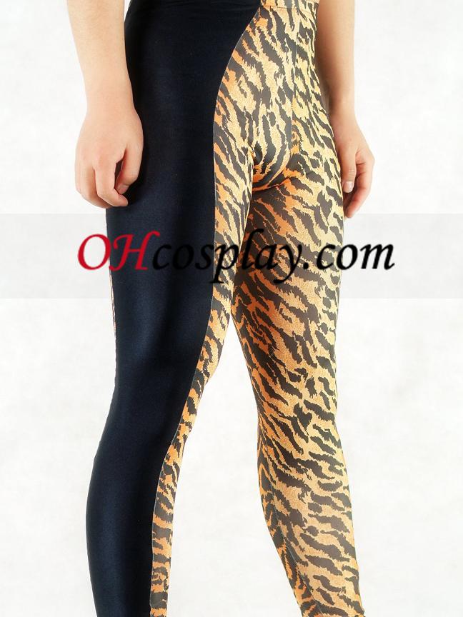 Tiger Skin And Black Style Lycra Spandex Men\'s Pants